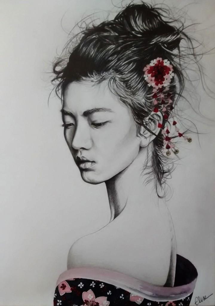 dessin portrait d 39 une jeune femme asiatique en geisha