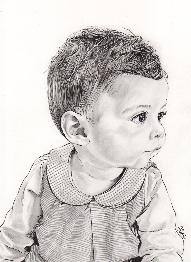 Portrait dessin d apr s photo b b petite fille 3 les - Image dessin enfant ...