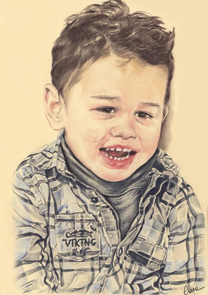 Portrait dessin d apr s photo enfant petit gar on riant - Dessin petit garcon ...