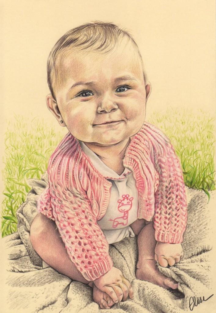 portrait dessin d 39 apr s photo d 39 une petite fille assise dans l 39 herbe les dessins d 39 lise. Black Bedroom Furniture Sets. Home Design Ideas